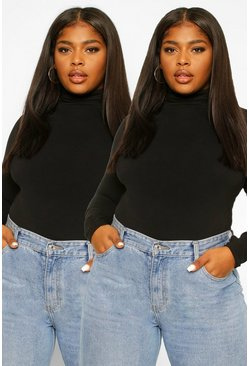 Black Plus 2 Pack Basic Roll Neck Long sleeve Top