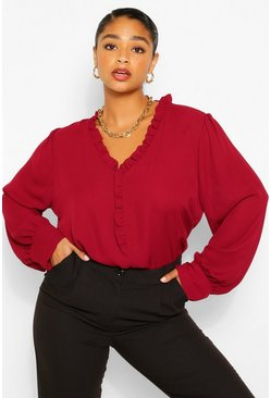 Berry red Plus Ruffle Collar Longsleeve Blouse