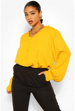 Mustard yellow Plus Ruffle Collar Longsleeve Blouse