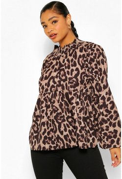 Brown Plus High Neck Leopard Print Longsleeve Smock Top