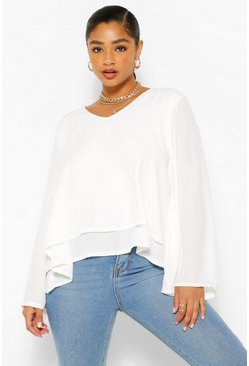 Ivory white Plus Double Layer V Neck Swing Blouse