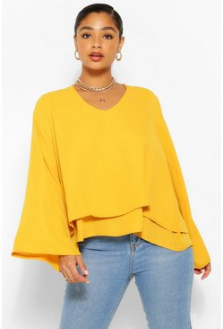 Mustard yellow Plus Double Layer V Neck Swing Blouse