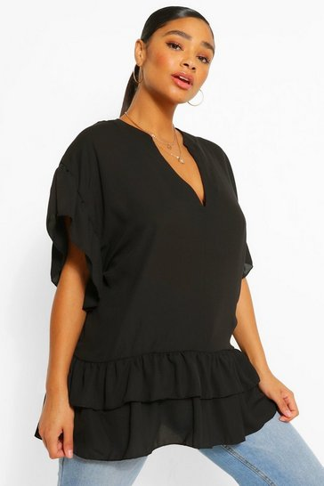 Black Plus V Neck Ruffle Woven Smock Top