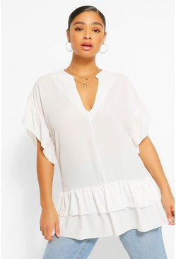 Ivory white Plus V Neck Ruffle Woven Smock Top
