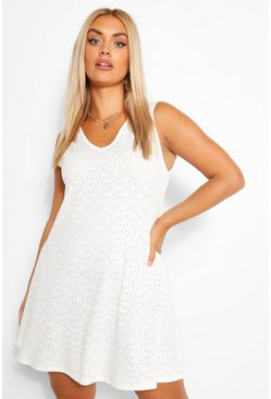 White Plus Broderie V Neck Smock Sundress