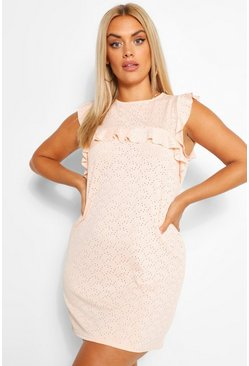 Peach orange Plus Broderie Ruffle Shift Dress