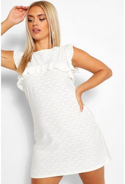 White Plus Broderie Ruffle Shift Dress