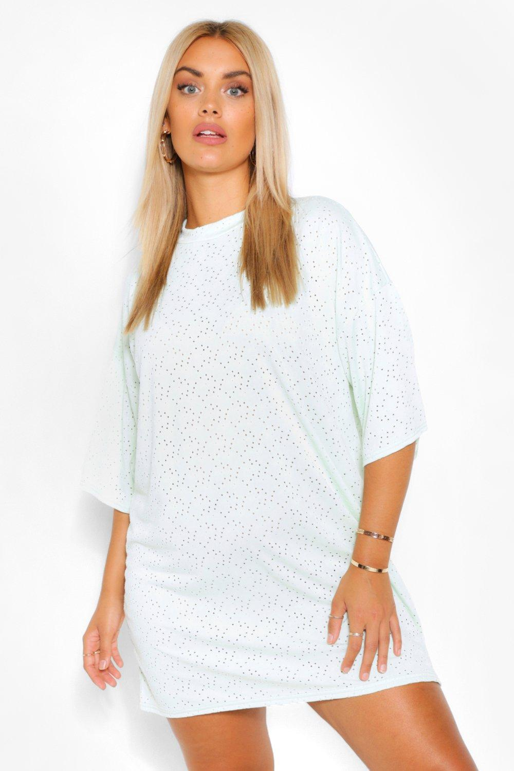 Plus Broderie Super Oversized T-Shirt Dress 10