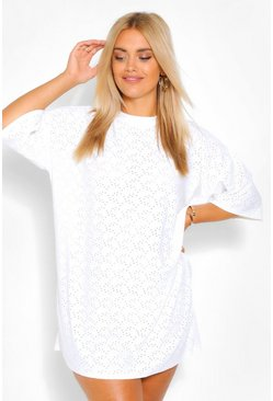 White Plus Broderie Super Oversized T-Shirt Dress