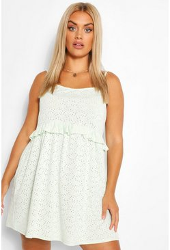 Mint Plus Ruffle Broderie Strappy Sundress