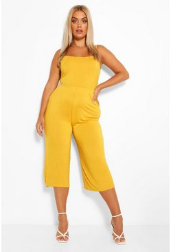 Plus - Ensemble crop top à bretelles et jupe-culotte, Moutarde jaune