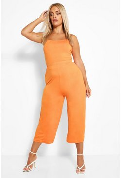 Orange Plus Strappy Crop Top And Culotte Co-ord
