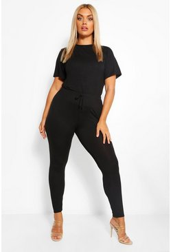Black Plus Jersey T-Shirt + Legging Co-Ord