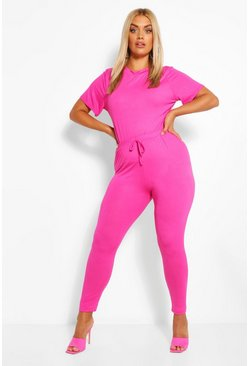 Hot pink Plus Jersey T-Shirt + Legging Co-Ord