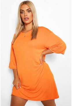 Orange Plus Drop Armhole T-Shirt Dress