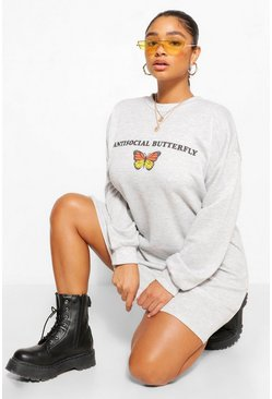 Grey Plus Anti-Social Oversized Sweat Dress