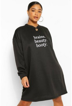 Black Plus Brains Beauty Booty Oversized Sweat Dress