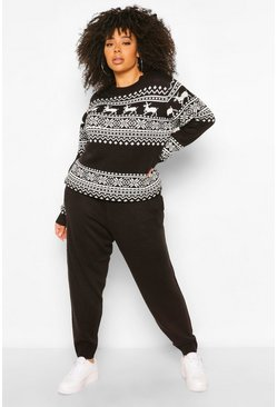 Black Plus Deer Fairisle Knitted Co-Ord