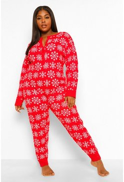 Red Plus Snowflake Knitted Onesie