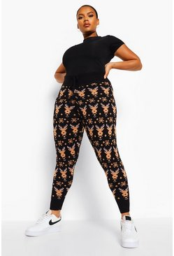 Black Plus Reindeer Knitted Legging