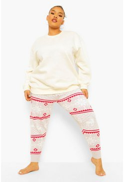 Grey Plus Fairisle Print Knitted Legging