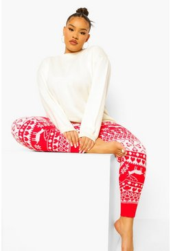 Red Plus Fairisle Print Knitted Legging