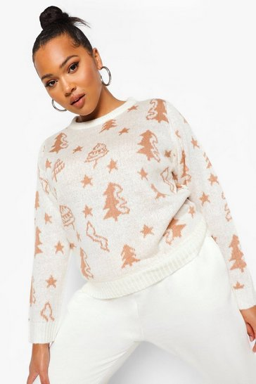 Cream white Plus Christmas Tree Jumper