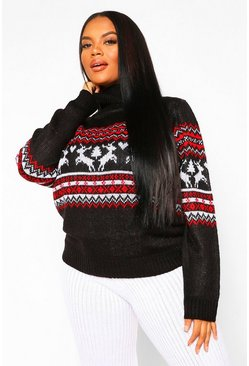 White Plus Fairisle Print Turtle Neck Jumper