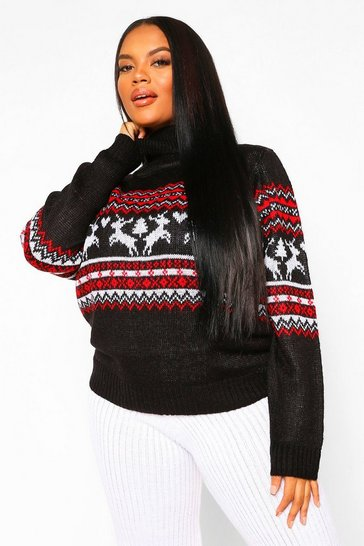 Black Plus Fairisle Print Turtle Neck Jumper