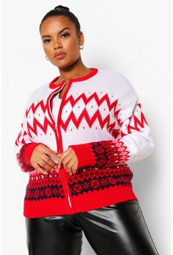 Red Plus Fairisle Print Cardigan