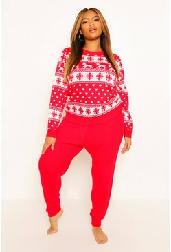 Red Plus Christmas Knitted Co-Ord