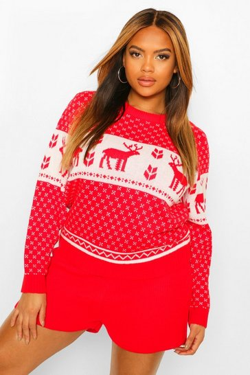 Red Plus Fairisle Knit Short Set