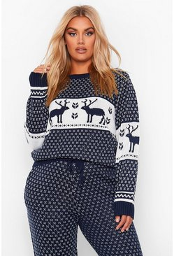 Navy PLUS Fairisle Print Knitted Co-Ord
