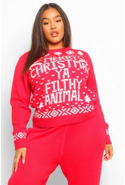 Red PLUS 'Filthy Animal' Knitted Co-Ord