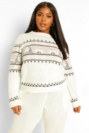 Cream white Plus Polar Bear Fairisle Knitted Co-Ord