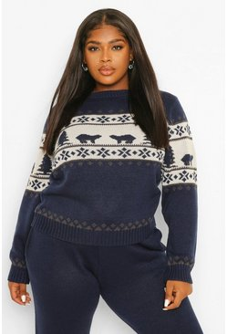 Navy Plus Polar Bear Fairisle Knitted Co-Ord
