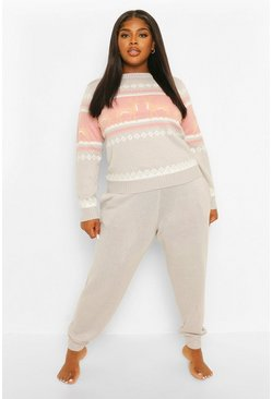 Grey Plus Reindeer Fairisle Knitted Co-Ord