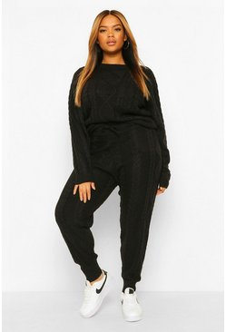 Black Plus Cable Knit Knitted Co-Ord