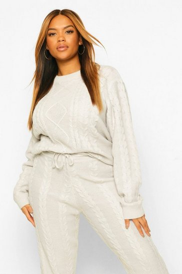 Grey Plus Cable Knit Knitted Co-Ord