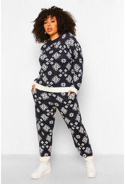 Navy Plus Snowflake Print Knitted Co-Ord