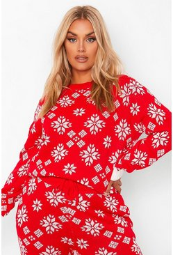 Red Plus Snowflake Print Knitted Co-Ord
