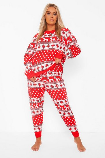 Red Plus Fairisle Print Knitted Co-Ord