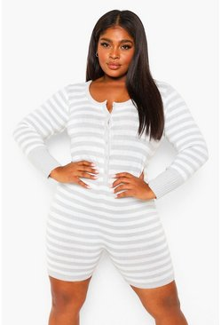 Grey Plus Striped Knitted Short Onesie