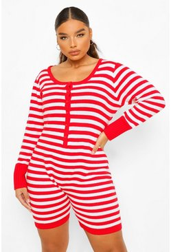 Red Plus Striped Knitted Short Onesie