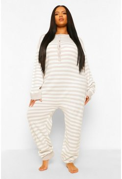 Grey Plus Striped Knitted Onesie
