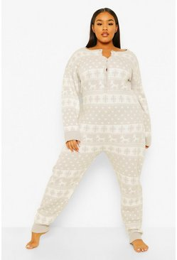 Grey Plus Reindeer Knitted Onesie