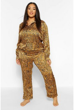 Mustard Plus Leopard Trouser PJ Set