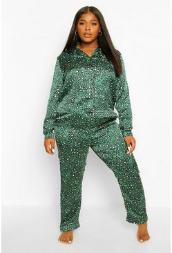Emerald green Plus Leopard Trouser PJ Set