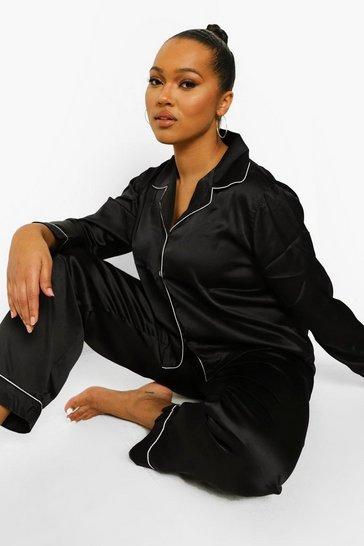 Black Plus Satin Piping Trouser PJ Set