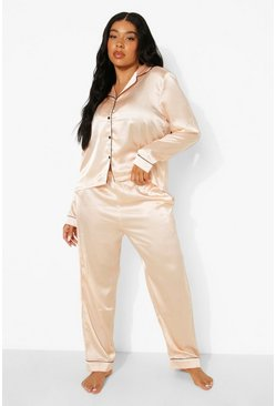 Wine red Plus Satin Piping Trouser PJ Set